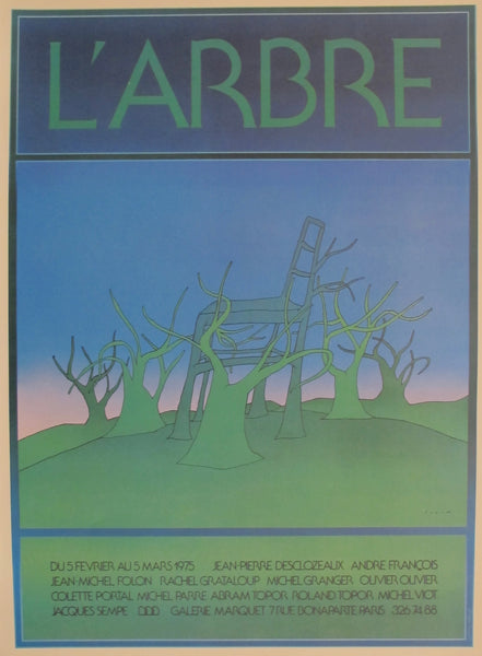 1983 Original Jean Michel Folon French Exhibition Poster, L'Arbre