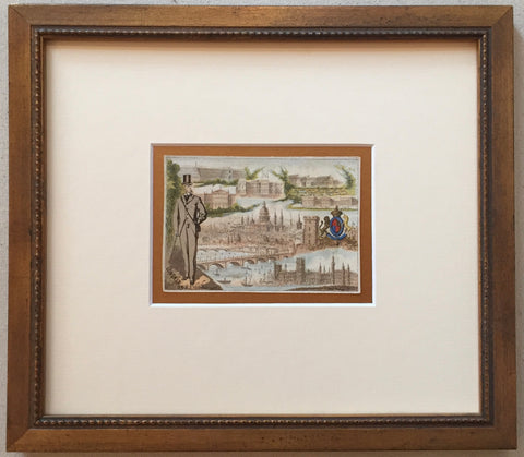 1900 French Art Nouveau Trade Card, London (Framed)