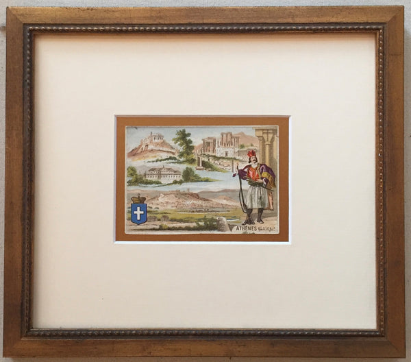 1900 French Art Nouveau Trade Card, Athens (Framed)