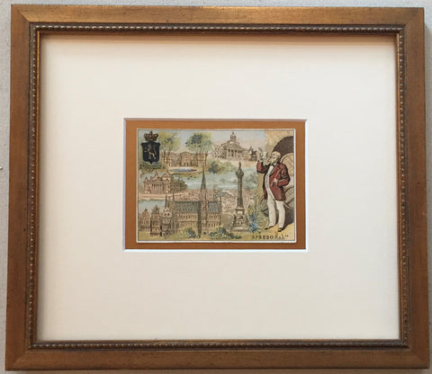1900 French Art Nouveau Trade Card, Brussels (Framed)