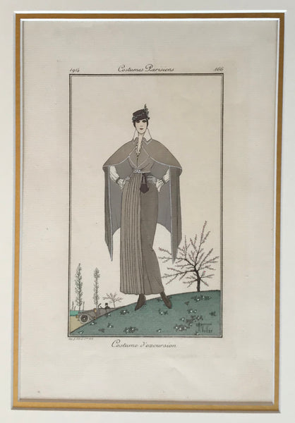 1914 Original French Poster, Costume D'excursion (Journal Des Dames Et De La Mode)