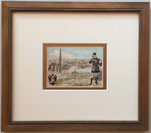 1900 French Art Nouveau Trade Card, Vienna (Framed)
