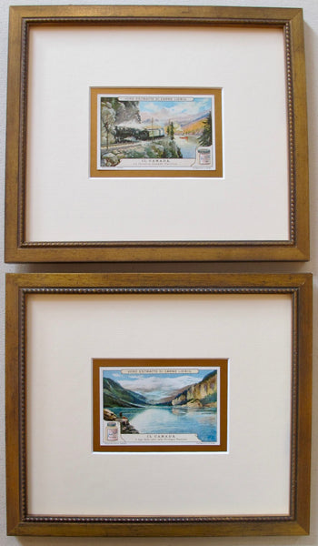 1900 Italian Art Nouveau Trade Cards, Canadian Rockies + Canadian Pacific (Framed) Set of 2