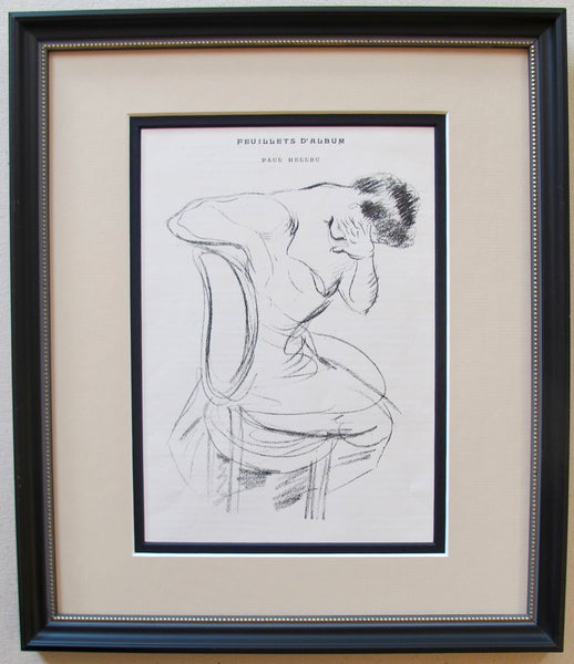 1899 Original French Framed Sketch of a Woman from Cocorico