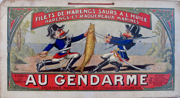 1900s French Advertising Carton, Filets de Harengs Au Gendarme