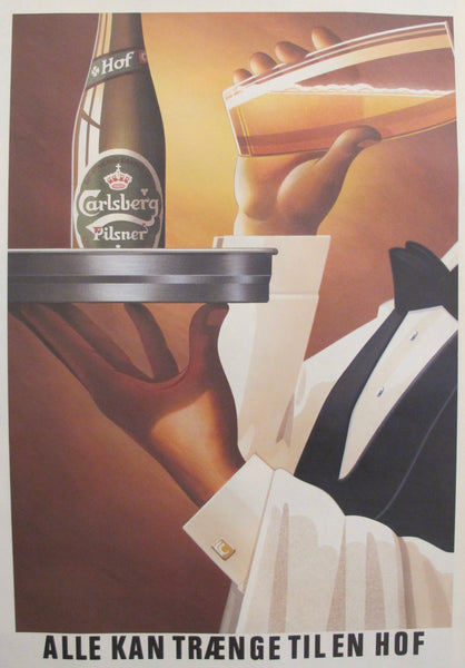 1980s Danish Advertisement for Carlsberg Beer, Waiter