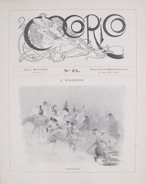1899 Original Cocorico Masthead (Mucha) and Illustration (Willette)