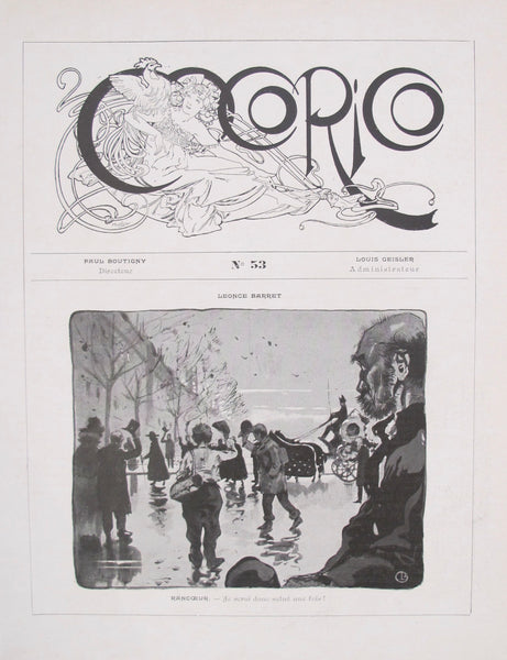 1899 Original Cocorico Masthead (Mucha) and Illustration (Barret)