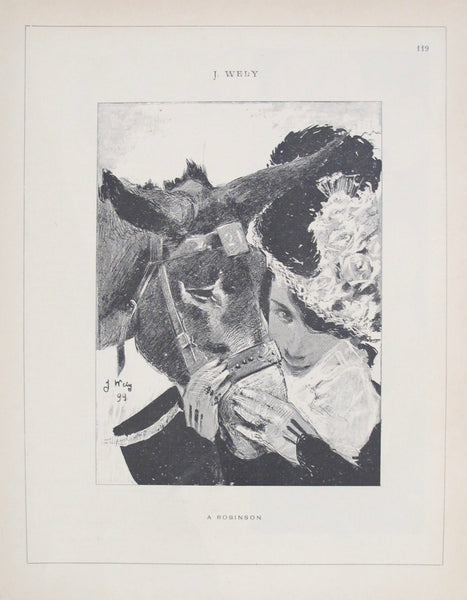 1899 Original Cocorico Illustration, A Woman and her Donkey (Wely)