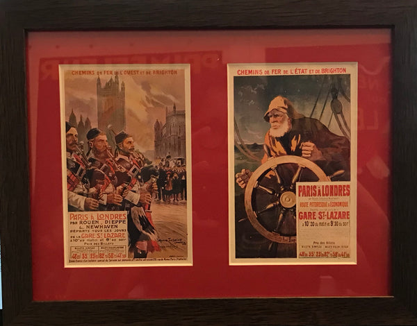1910's French Chemin de Fer Postcards, Pair - Paris à Londres, Chemin de Fer de L'Ouest et de Brighton (Framed)