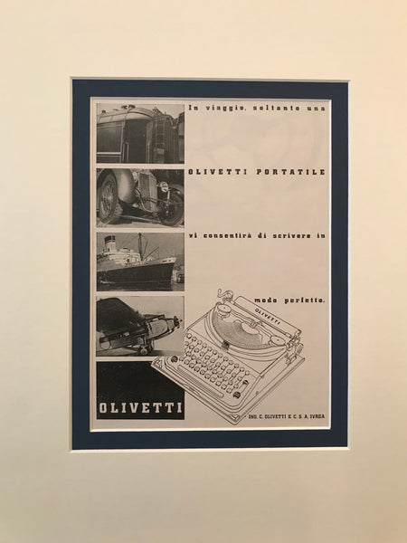 1920's Original Italian Poster, Olivetti Advertisement - Typewriter