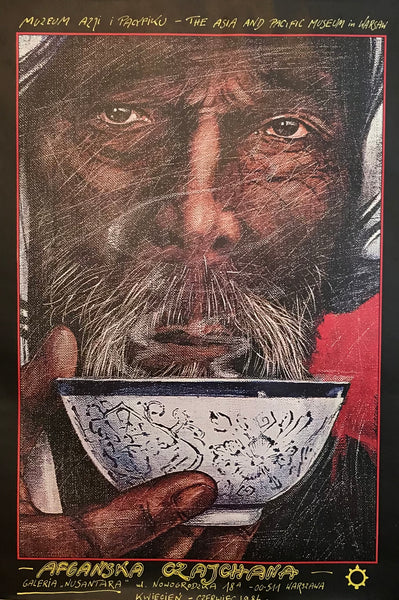 1984 Original Polish Poster, Afganska Czajchana, The Asia and Pacific Museum, Warsaw