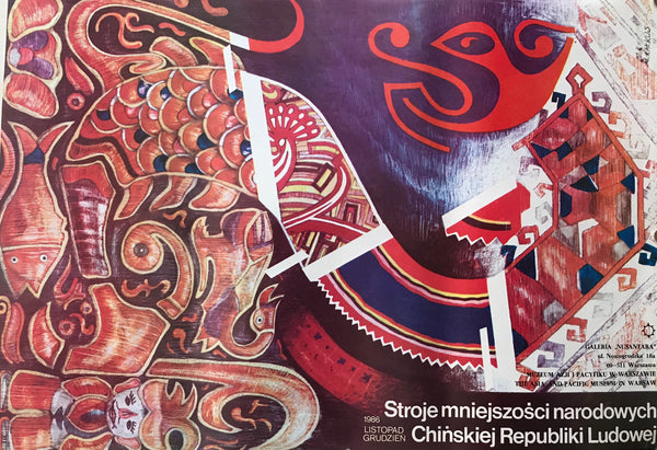 1986 Original Polish Poster, Chinese Costume Exhibition, The Asia and Pacific Museum, Warsaw