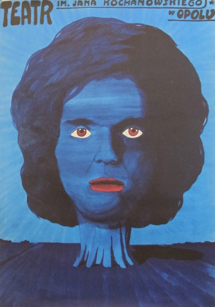 1975 Original Polish Theatre Poster, Blue Head
