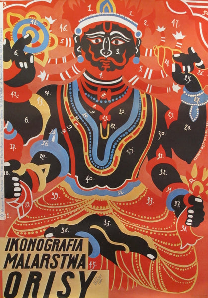 1984 Original Polish Exhibition Poster, Ikonografia Malarstwa Orisy, Asia and Pacific Museum Warsaw