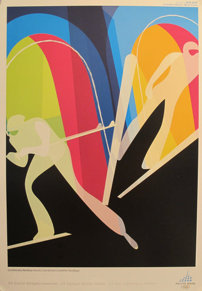 2006 Original Vintage Torino Winter Olympics Poster, Nordic Combined