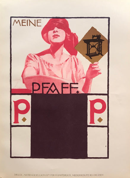 1926 Original German Art Deco Poster, Meine Pfaff
