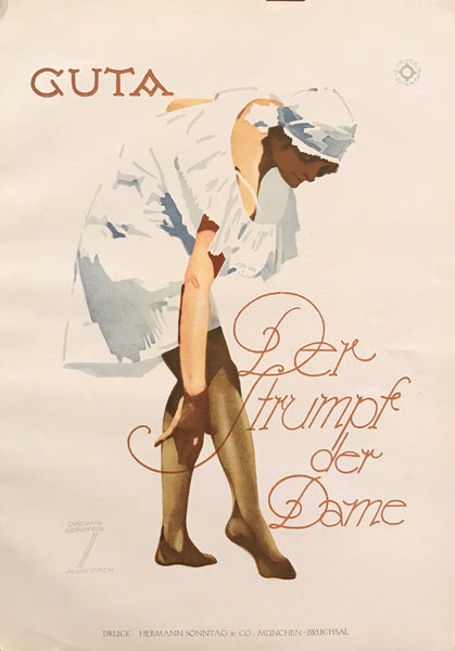 1926 Original German Art Deco Poster, Guta Stockings/Hose