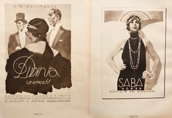 1926 Original German Double-sided Art Deco Poster, Saba Horer/Divinia (Beauty Products)