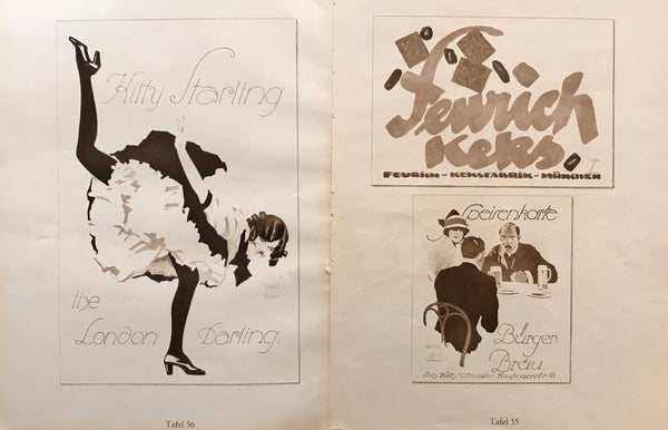 1926 Original German Double-sided Art Deco Poster, Kitty Starling the London Darling/Speisenkarte Bürger Bräu + Feurich-Keksfabrik München