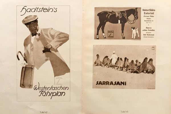 1926 Original German Double-sided Art Deco Poster, Hadstein's Fahrplan/Horse, Dog + Camels