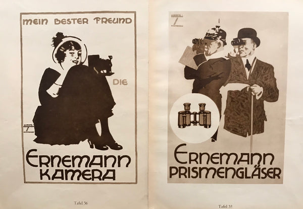1926 Original German Double-sided Art Deco Poster, Ernemann Camera and Binoculars
