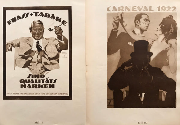 1926 Original German Double-sided Art Deco Poster, Carneval 1922 and Frass Tabake