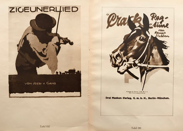 1926 Original German Double-sided Art Deco Poster, Crack Rag Time (Horse) and Zigeunerlied