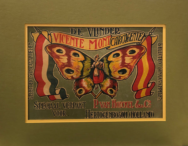 1920's Original Vintage Spanish Fruit Crate Label - De Vlinder Apples (For Dutch Market)