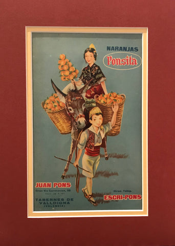 1920's Original Vintage Spanish Fruit Crate Label -  Boy Leading Donkey (Naranjas Ponsita - Juan Pons - Tabernes de Valldigna)
