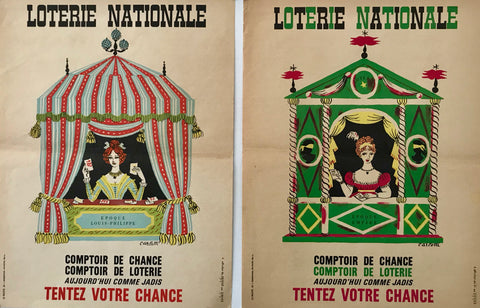 1963 French Poster, Loterie Nationale Advertisement, Comptoir de Chance (Set of 2)