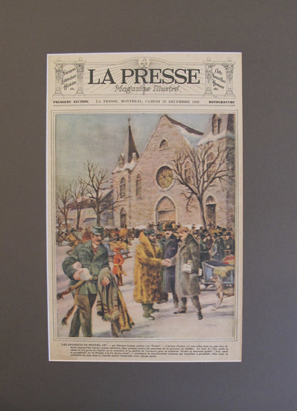 1928 Matted Quebec Advertisement Poster, La Presse New Year's Day Wishes