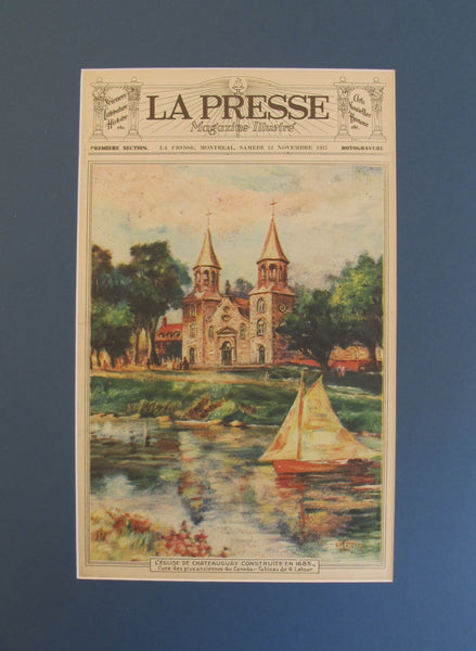1927 Original Montreal Canadian La Presse Newspaper, Matted, Chateauguay Church