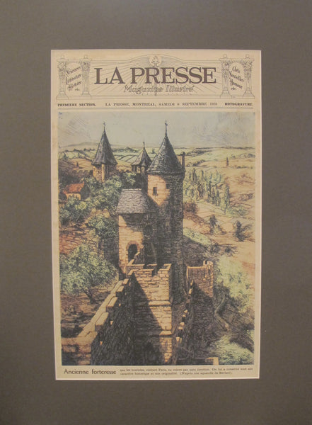 1934 Original Montreal Canadian La Presse Newspaper, Matted, Ancient Fortress