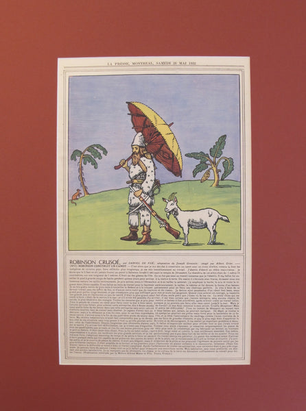 1932 Matted Quebec Advertisement Poster, Robinson Crusoe