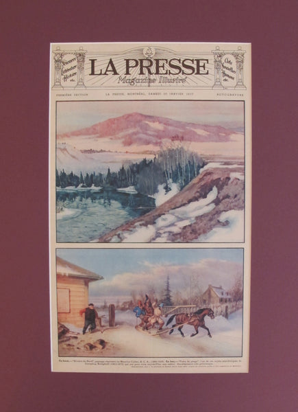 1937 Original Montreal Canadian La Presse Newspaper Advertisement, Matted, Winter Scenes
