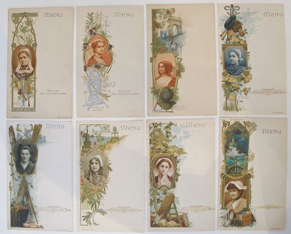 Set of 1905 Album of French Art Nouveau Biscuit LU Collectable Postcards (8)