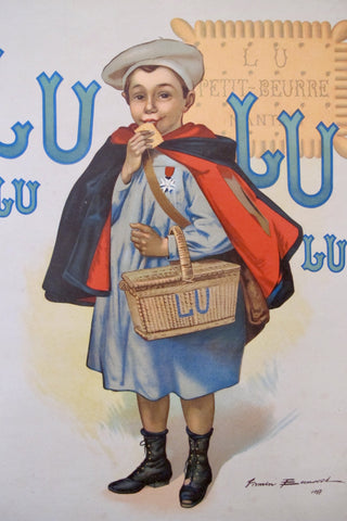 1905 Original French Advertising Carton, Biscuits Lu (Small)