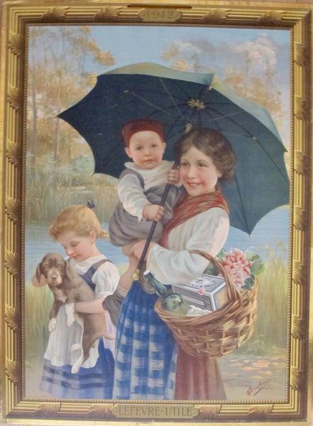 1912 Original French Advertising Carton, Lefèvre-Utile Mother, Children + Dog