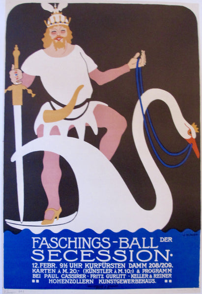 1910 Austrian Art Deco Poster, Faschings-Ball der Secession