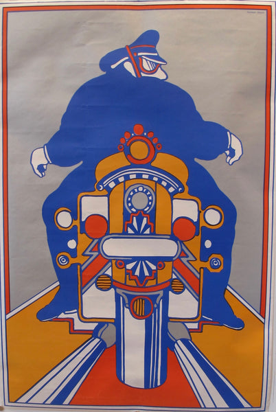 1970s Original American Seymour Chwast Motorcycle Poster