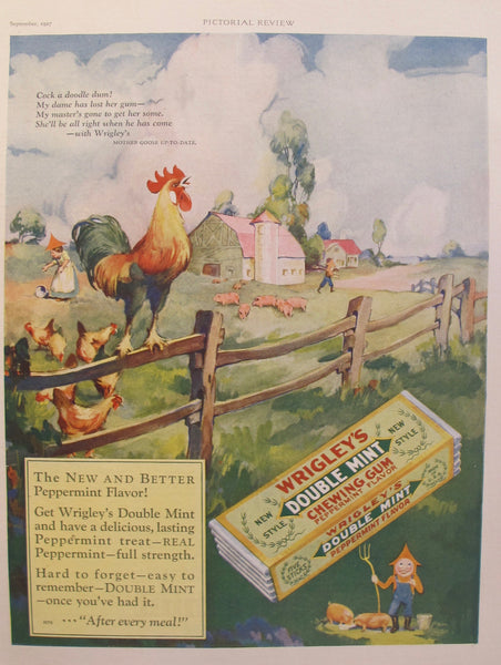 1927 Original American Farmhouse Advertisement, Wrigley's Double Mint Gum