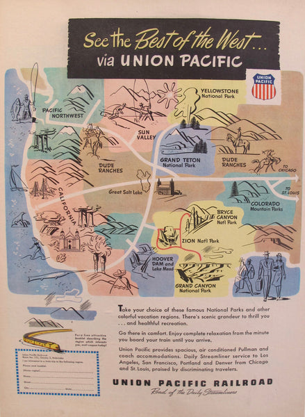1920's Union Pacific Railroad Advertisement, Best of the West