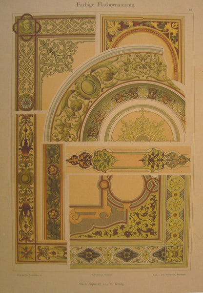 1900 Original German Art Nouveau Poster, Decorator Print, #13