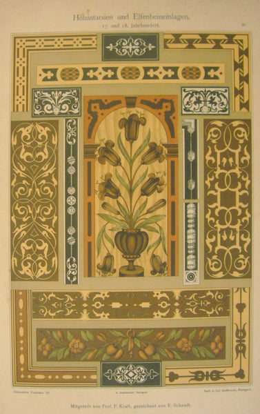 1900 Original German Art Nouveau Poster, Decorator Print #9