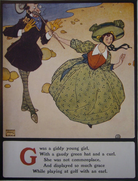 1908 British Children's Illustration, Giddy Young Girl - Dulac