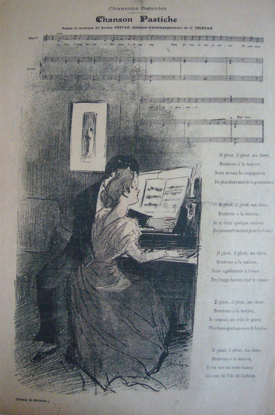1894 Original French Art Nouveau Gil Blas Cover, Chanson Pastiche - Steinlen
