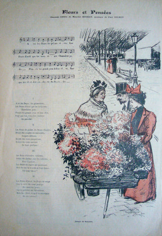 1894 Original French Art Nouveau Poster, Gil Blas Music Sheet, Fleurs Et Pensees -  Steinlen
