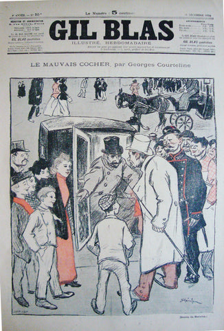1894 Original French Poster, Cover from Gil Blas, Le Mauvais Cocher - Steinlen