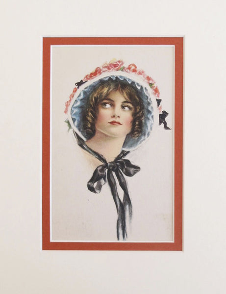 1900-1910 Original Vintage Mini Poster - Woman in Bonnet